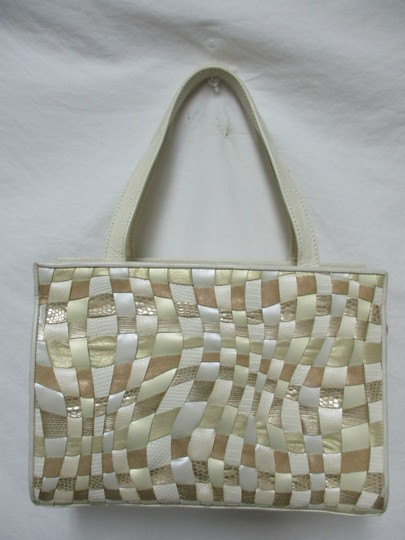Sharif Vintage Woven Leather Purse Tote in ivory, gold, bronze Image 9
