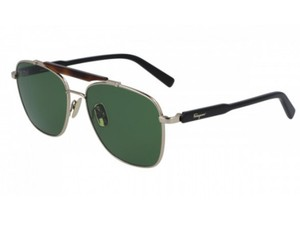 Salvatore Ferragamo SALVATORE FERRAGAMO SF198S-717-5616 SHINY GOLD / GREEN SUNGLASSES
