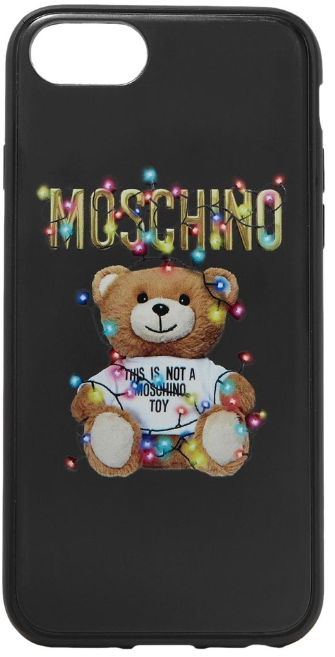 the latest 43948 759b0 Moschino Black Printed Silicone Iphone 6 6s 7 and 8 Case Tech Accessory