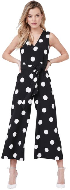 Preload https://img-static.tradesy.com/item/25538378/karl-lagerfeld-blackwhite-polka-dot-v-neck-tie-waist-sleeveless-crepe-style-no-ld8c3024-romperjumpsu-0-1-650-650.jpg