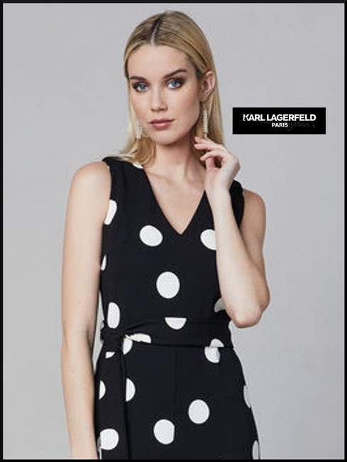 Karl Lagerfeld Self-tie Sash V-neck Cropped Culotte Leg Crepe Fabric Dress Image 2