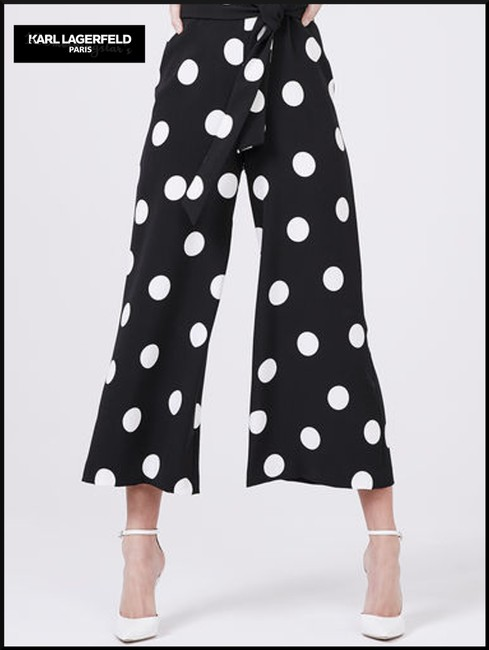 Karl Lagerfeld Self-tie Sash V-neck Cropped Culotte Leg Crepe Fabric Dress Image 3