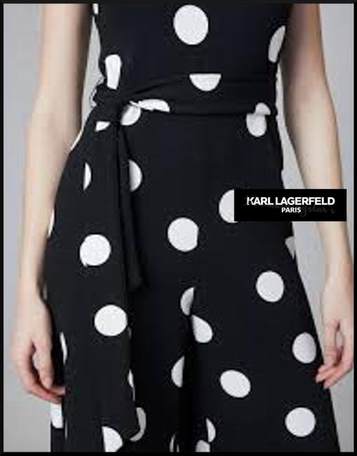 Karl Lagerfeld Self-tie Sash V-neck Cropped Culotte Leg Crepe Fabric Dress Image 6