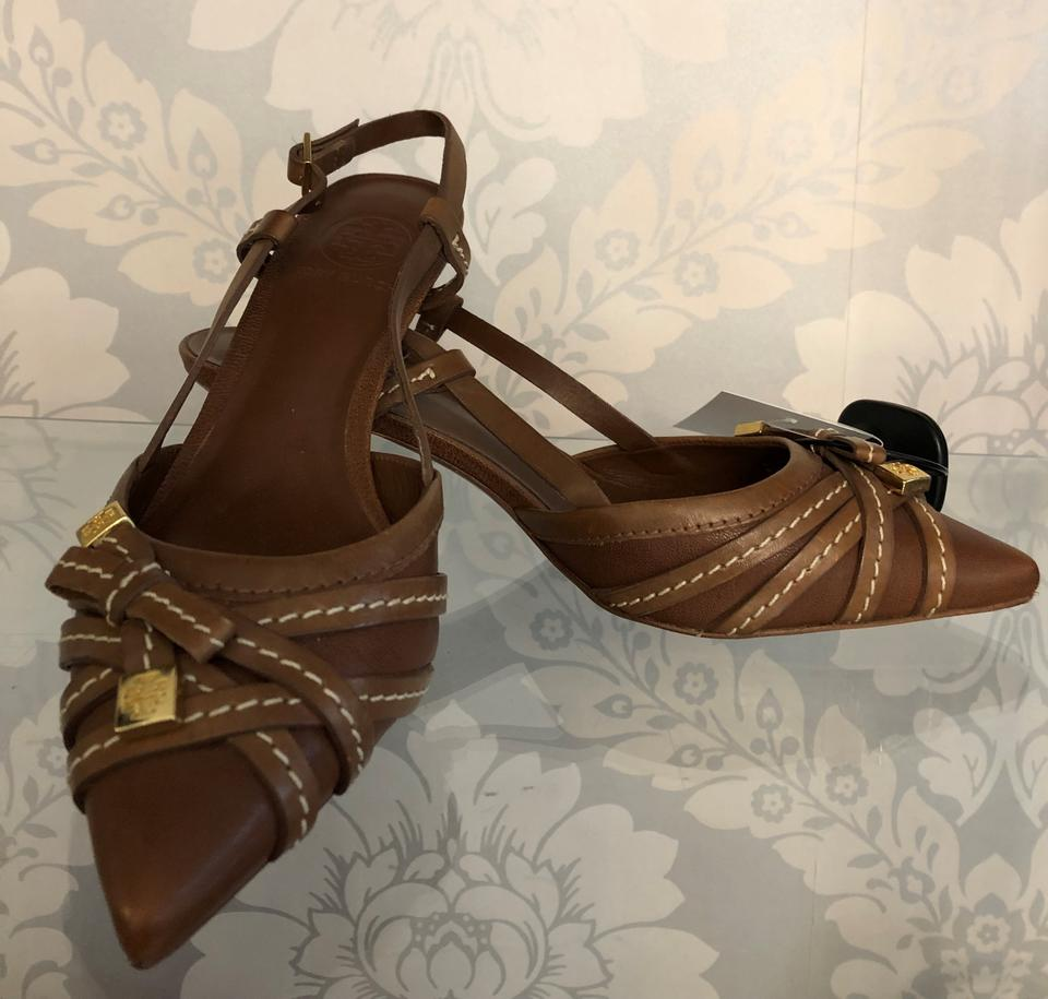 6dfb26f768 Tory Burch Brown Strappy Leather Kitten Heels Pumps Size US 7.5 ...
