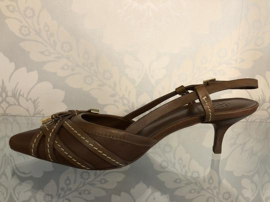 Tory Burch Kitten Strappy Tb Brown Pumps Image 2