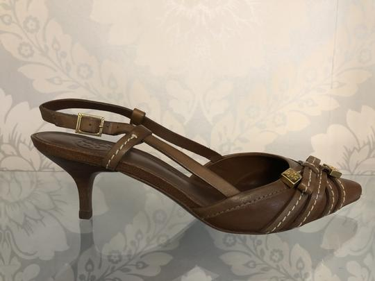 Tory Burch Kitten Strappy Tb Brown Pumps Image 3