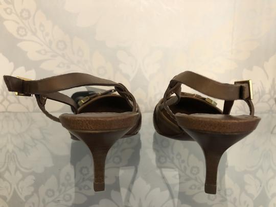 Tory Burch Kitten Strappy Tb Brown Pumps Image 4