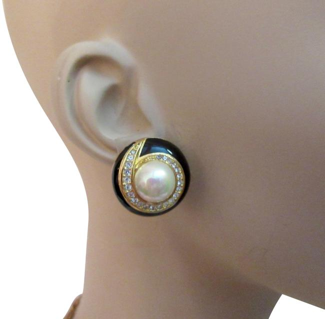 Item - Black Enamel and Pearl Swarovski Crystals Gold Plated Clip Earrings