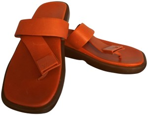 Louis Vuitton Leather Slip On Rubber Lv Italy Orange Sandals