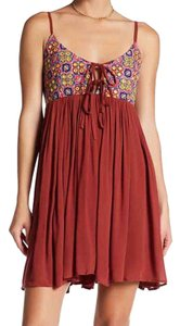 Romeo & Juliet Couture short dress Maroon Spice Red Embroidered Rayon India Style Boho on Tradesy