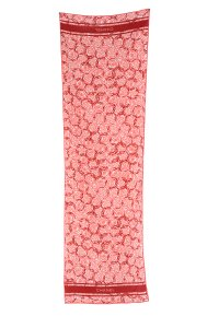 Chanel CHANEL Pink Floral Oblong Silk Scarf