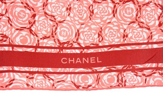 Chanel CHANEL Pink Floral Oblong Silk Scarf Image 3