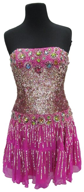 Item - Multi-colored Fuchsia 8428/ Short Formal Dress Size 6 (S)