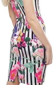 PAPER DOLL Floral Stripes Summer Midi Off Shoulder Dress