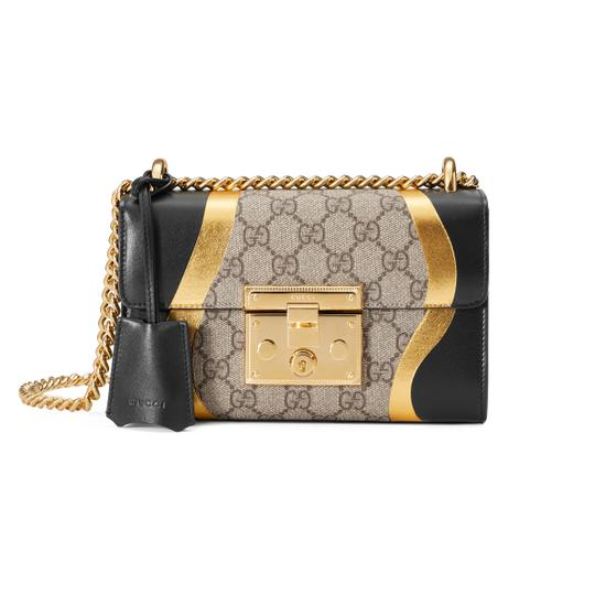 210fbf91b Gucci Supreme Padlock Brown Black Leather and Gg Leather Shoulder ...