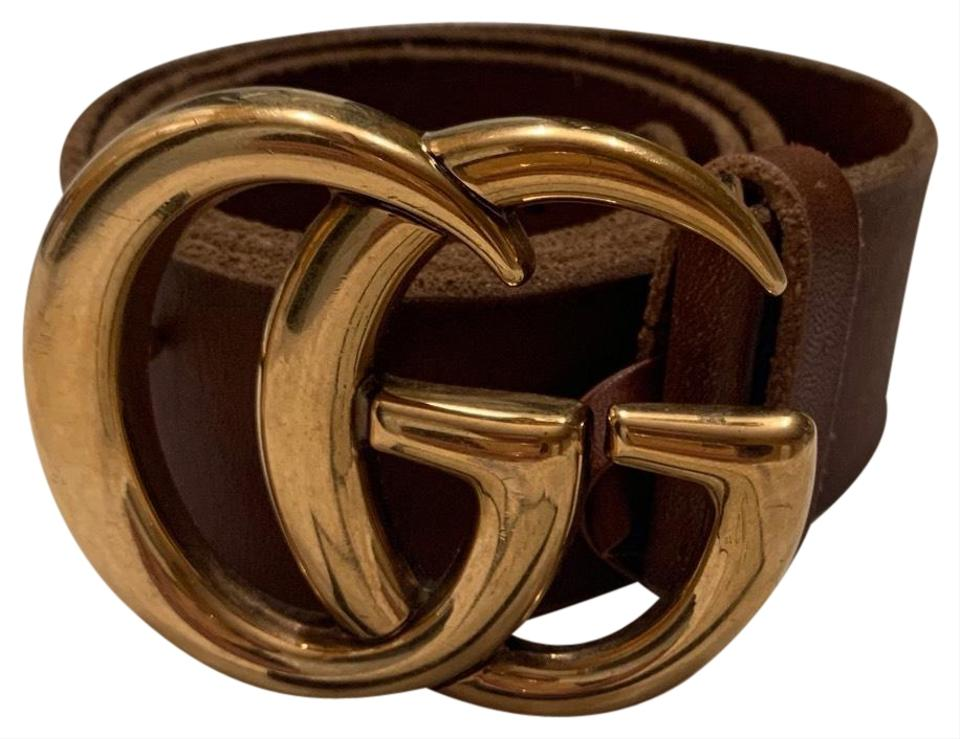 8ecb7a3b7 Gucci Brown Faded Leather with Double G Buckle Belt - Tradesy