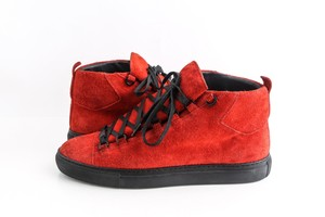 Balenciaga Red Black Arena Suede Leather Laced High Top Sneakers Shoes