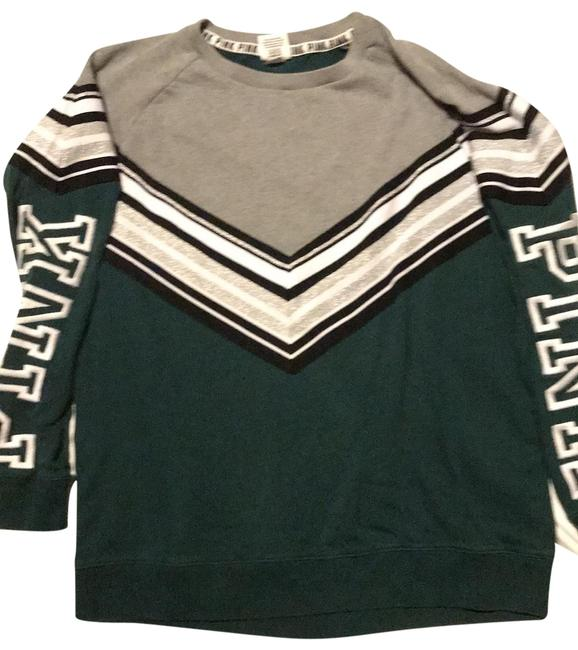 Victoria's Secret Forest Green and Grey with Black White and Silver Stripes Sweatshirt M170/96a Activewear Size 8 (M) Victoria's Secret Forest Green and Grey with Black White and Silver Stripes Sweatshirt M170/96a Activewear Size 8 (M) Image 1