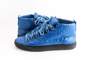 Balenciaga Blue Arena Leather High Top Sneakers Shoes