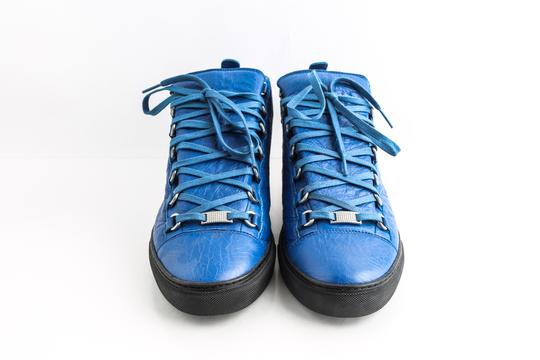 Balenciaga Blue Arena Leather High Top Sneakers Shoes Image 1