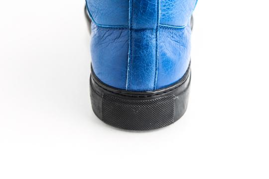 Balenciaga Blue Arena Leather High Top Sneakers Shoes Image 10