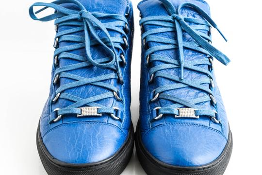 Balenciaga Blue Arena Leather High Top Sneakers Shoes Image 11