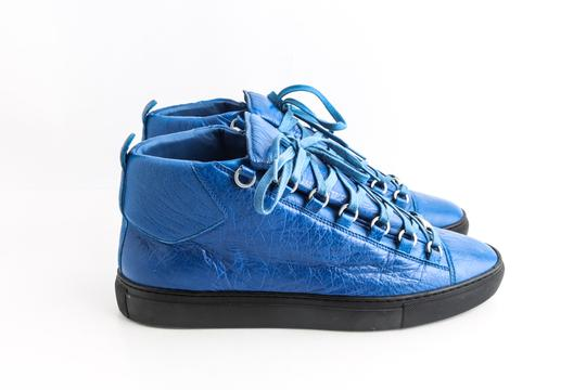 Balenciaga Blue Arena Leather High Top Sneakers Shoes Image 3