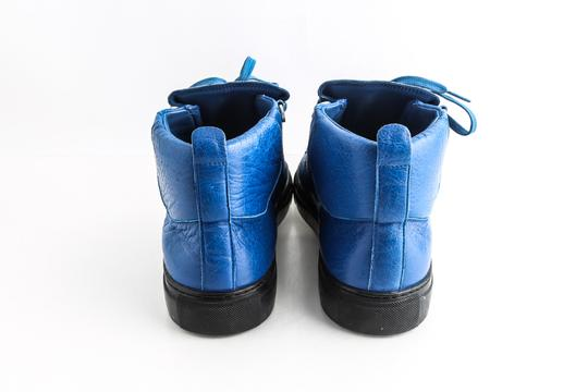 Balenciaga Blue Arena Leather High Top Sneakers Shoes Image 4