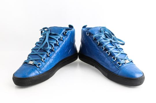 Balenciaga Blue Arena Leather High Top Sneakers Shoes Image 5