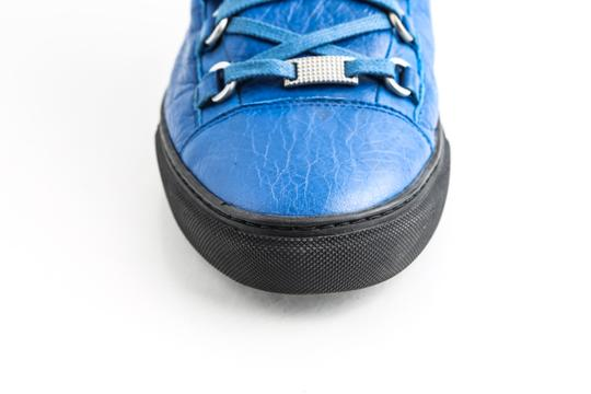 Balenciaga Blue Arena Leather High Top Sneakers Shoes Image 7