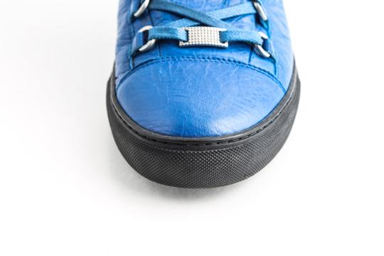 Balenciaga Blue Arena Leather High Top Sneakers Shoes Image 8