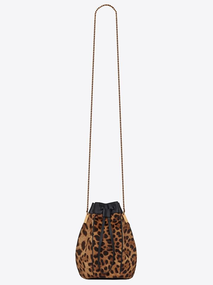 613d7ad555 Saint Laurent Bucket Talitha Small In Ponyskin-look with Print Black Gold  Leopard Calfskin Leather Cross Body Bag 48% off retail