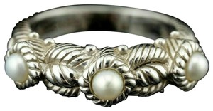 Judith Ripka Judith Ripka Sterling Silver Triple Three Pearl Cable Stack Band Ring