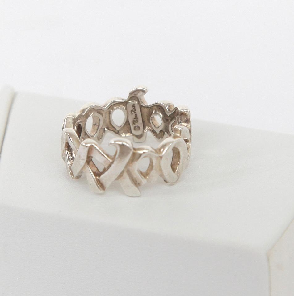 ca5b58a70 TIFFANY & CO. Sterling Silver GRAFITTI LOVE KISSES Band Ring Piccaso.  12345678