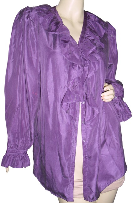 Item - Purple Pure Silk Lavender Silk Ruffled Collar Blouse Size 6 (S)