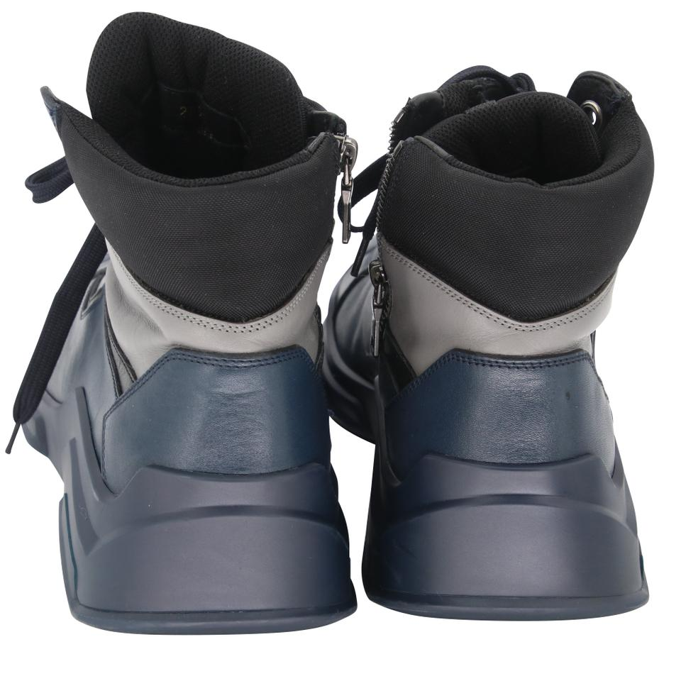 24376a6fc91 Prada Navy Blue Grey Black Classic Leather High Top Lace Up Chunky Sole  Hiker Men's Boots Sneakers Size US 9 Regular (M, B) 59% off retail