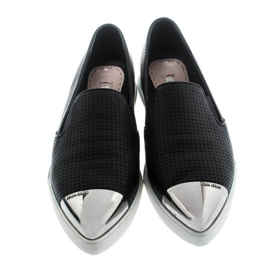 Miu Miu Perforated Leather Pointed Toe Black Flats Image 1
