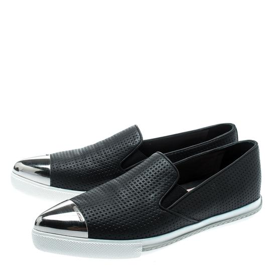 Miu Miu Perforated Leather Pointed Toe Black Flats Image 5
