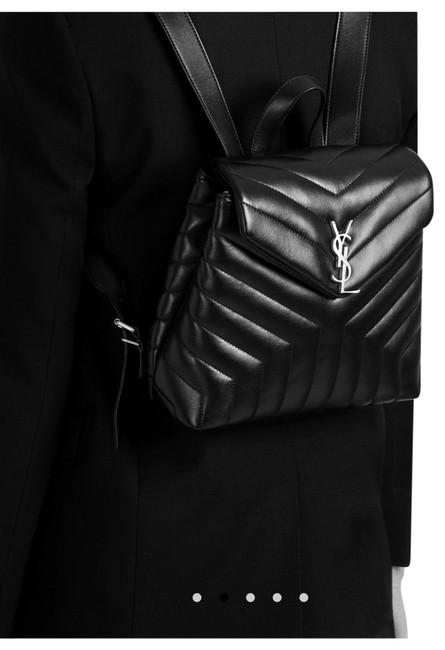 Item - Drawstring and Magnetic Flap Front Closure Oxidized Nickel Hardware 1 Interior Zip Pocket and Slot Pocket Style Id Made Black with Aged Silver Calfskin Leather Grosgrain Lining Backpack