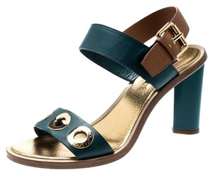 Louis Vuitton Leather Ankle Strap Open Toe Green Sandals