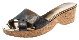 Jimmy Choo Leather Rubber Blue Sandals