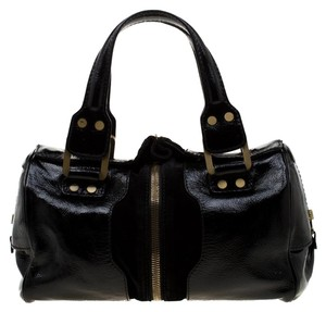 Jimmy Choo Patent Leather Suede Satchel in Black