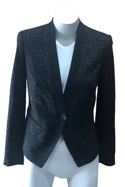Ann Taylor LOFT Black and Gray Animal Print Blazer Size Petite 6 (S) Ann Taylor LOFT Black and Gray Animal Print Blazer Size Petite 6 (S) Image 1