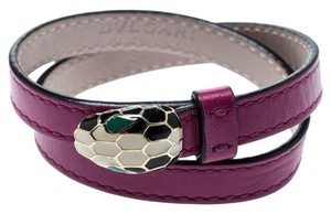 adb8bb575e72 BVLGARI Forever Enamel Purple Double Coiled Leather Gold Plated Bracelet