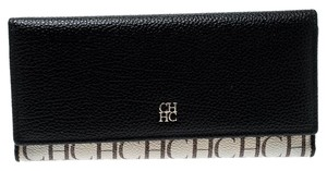 Carolina Herrera Black/Beige Caracas Canvas and Leather Traveller Trifold Wallet