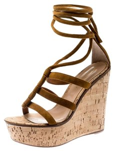 Gianvito Rossi Suede Wedge Ankle Open Toe Brown Sandals