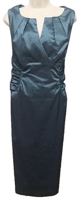 Item - Teal Pleated Neckline Ruched Sides Mid-length Night Out Dress Size 14 (L)
