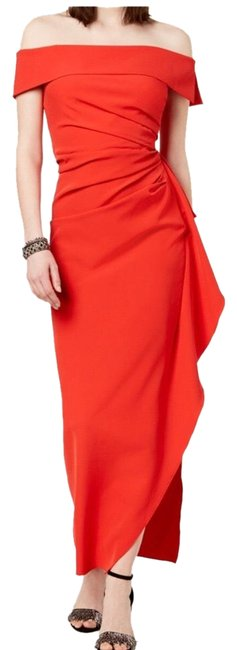 Item - Red Ruffled Off The Shoulder Gown Long Formal Dress Size 6 (S)
