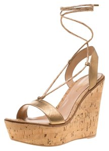 Gianvito Rossi Metallic Leather Ankle Wedge Gold Sandals