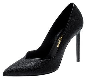 Saint Laurent Glitter Leather Skinny Pointed Toe Black Pumps